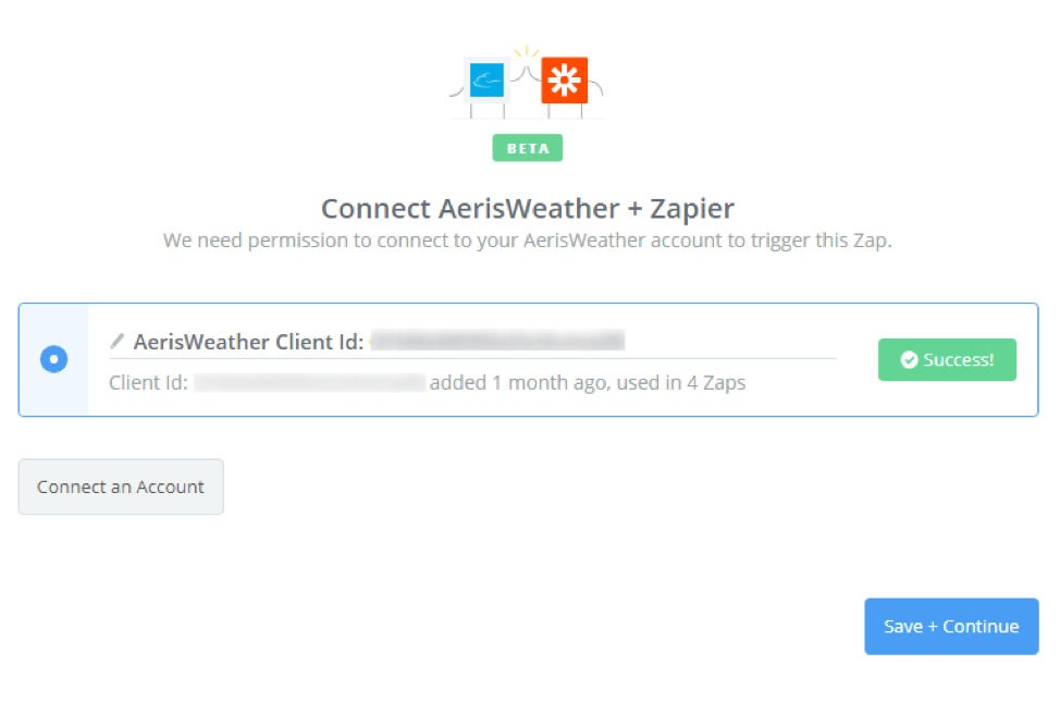 AerisWeather + Zapier Connection Success